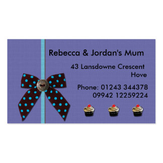Bow and cupcake kids/parents calling/profile card business card