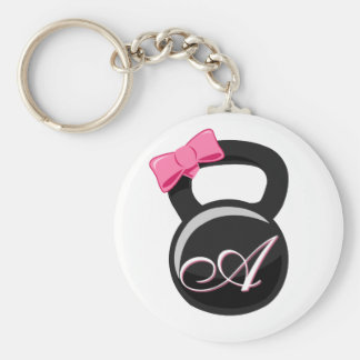 "Bow and Monogram Kettlebell Pink ""A"" Key Ring"