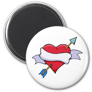 Bow & Arrow Valentine Heart With Blank Banner 6 Cm Round Magnet