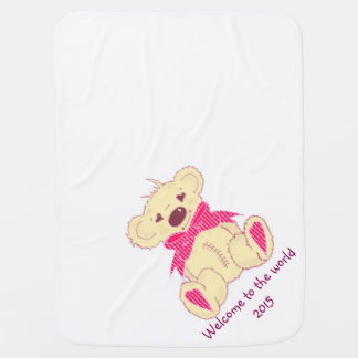 Bow Bear in pink welcome to the world Baby Blanket