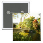 Bow Bridge, Central Park, Late Summer, NYC 15 Cm Square Badge