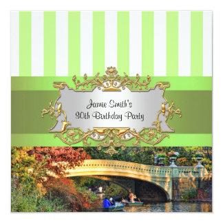 Bow Bridge, Central Park NYC Birthday Party Invity 5.25x5.25 Square Paper Invitation Card
