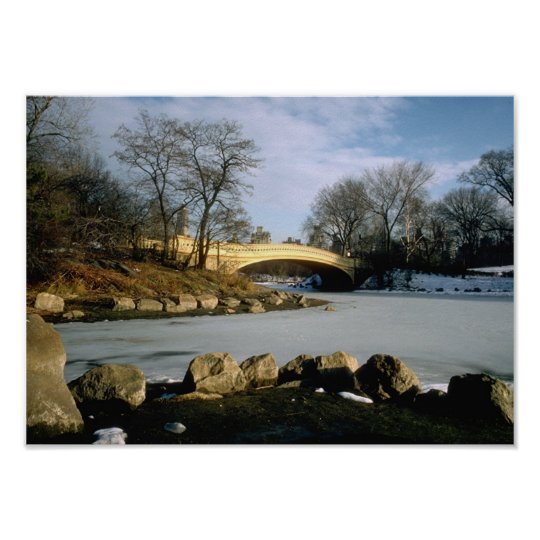 Bow Bridge Central Park Winter NYC Poster