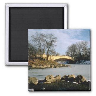 Bow Bridge Central Park Winter NYC Square Magnet