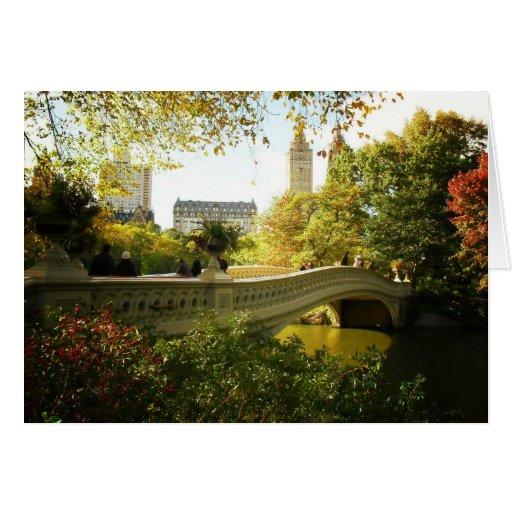 Bow Bridge in Autumn, Central Park, New York City Greeting Card