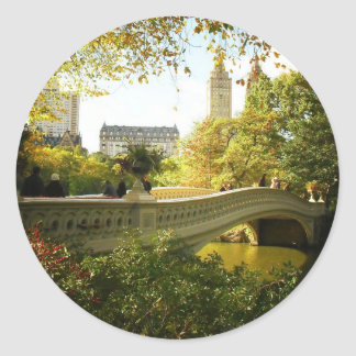 Bow Bridge in Autumn, Central Park, New York City Classic Round Sticker