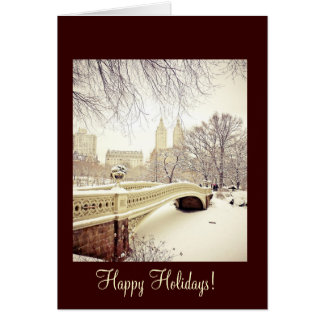 Bow Bridge Snow - Happy Holidays Greeting Card