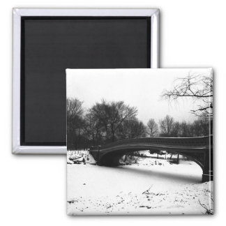 Bow Bridge Winter Central Park NYC Square Magnet