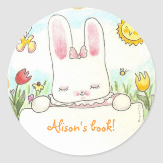 bow bunny bookplate classic round sticker