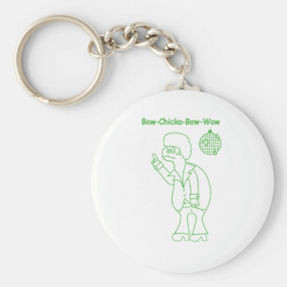 Bow Chicka Basic Round Button Key Ring