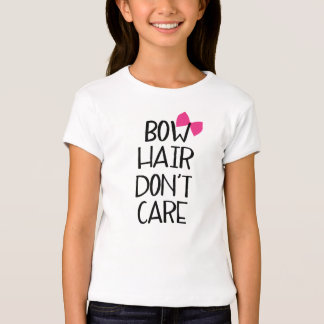 Bow Hair Don't Care - Funny Kids Tee Pink Bow