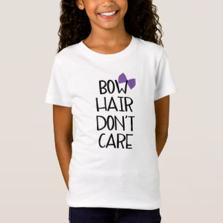 Bow Hair Don't Care - Funny Kids Tee Purple Bow