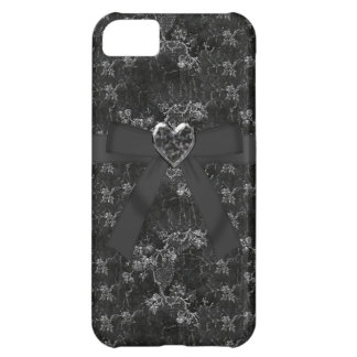 Bow & Jewel Heart Silver & Black iPhone 5 Case
