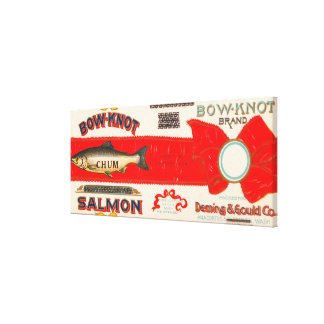 Bow Knot Brand Salmon Label Canvas Print