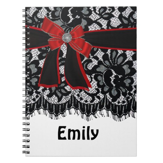 Bow,Lace, jewel Initial,Name,Logo Sprial Notebook