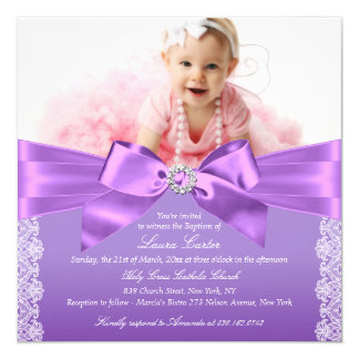 Bow & Lace Photo Purple Baptism/Christening 13 Cm X 13 Cm Square Invitation Card