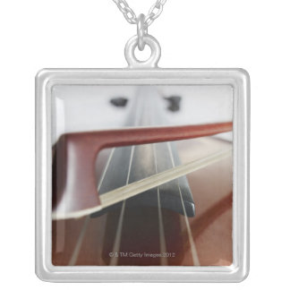 Bow on Violin Silver Plated Necklace