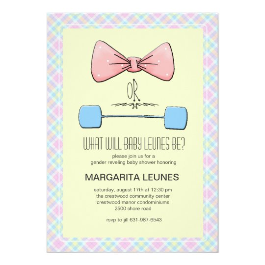 Bow or Barbell Gender Reveal Invitation