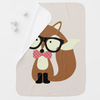 Bow Tie and Glasses Hipster Brown Fox Baby Blanket