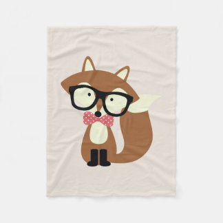Bow Tie and Glasses Hipster Brown Fox Fleece Blanket