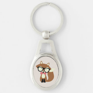 Bow Tie and Glasses Hipster Brown Fox Keychains