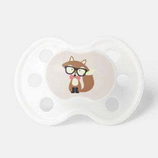 Bow Tie and Glasses Hipster Brown Fox Pacifier