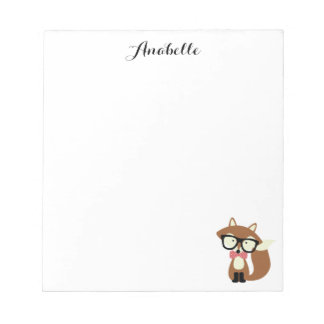 Bow Tie and Glasses Hipster Brown Fox Personalized Notepad