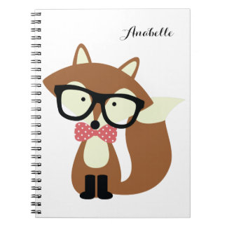 Bow Tie and Glasses Hipster Brown Fox Personalized Spiral Notebook