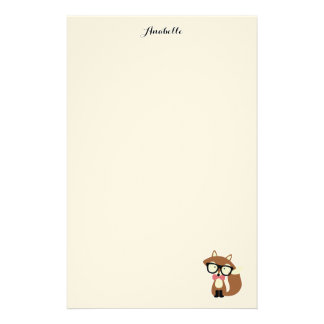 Bow Tie and Glasses Hipster Brown Fox Personalized Stationery