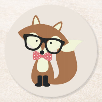 Bow Tie and Glasses Hipster Brown Fox Round Paper Coaster