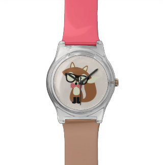 Bow Tie and Glasses Hipster Brown Fox Watch