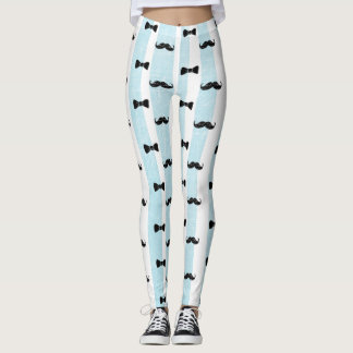 Bow tie and Mustache blue and white Leggings