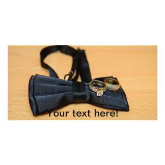 Bow tie and wedding rings photo greeting card
