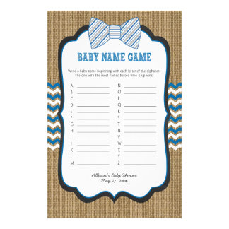 Bow Tie Baby Shower Games phone/baby name Flyer