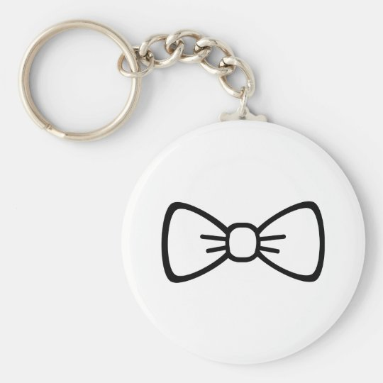 Bow tie basic round button key ring