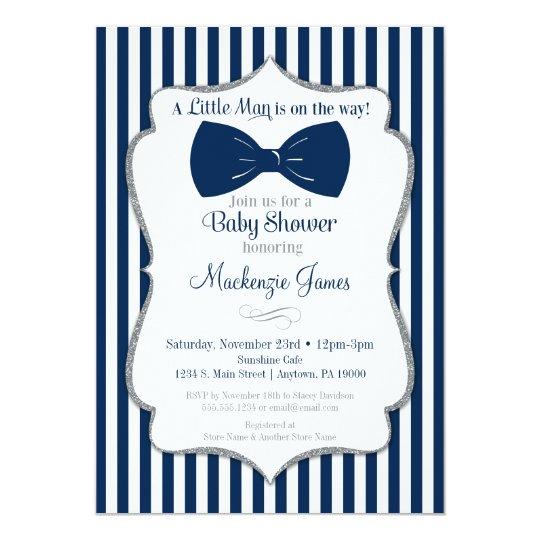 Bow Tie Boy Baby Shower Invitation Navy Silver