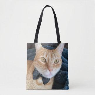 Bow tie cat tote bag