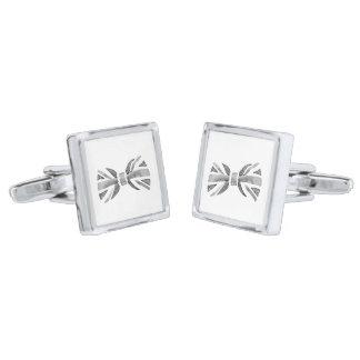 Bow Tie Cuff Links Silver Finish Cufflinks