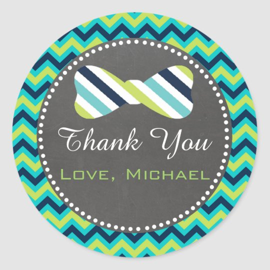 Bow Tie Gift Favour Label Blue Teal Chalkboard