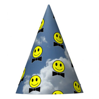 Bow Tie Happy Faces in the  Sky Party Hat