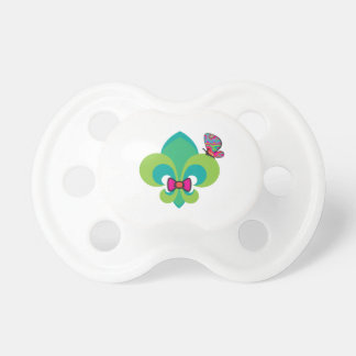Bow Tied and Butterfly Fleur De Lis Baby Pacifier