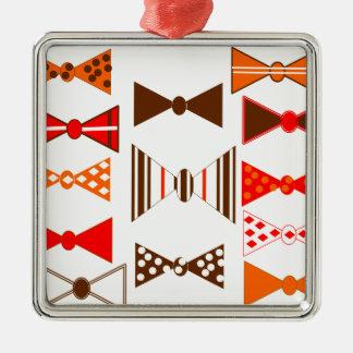 Bow Ties Retro Silver-Colored Square Decoration
