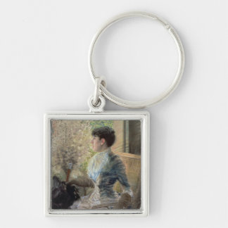 Bow Window, 1883 Silver-Colored Square Key Ring