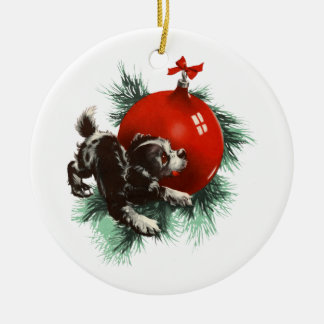 Bow Wow Christmas Round Ceramic Decoration