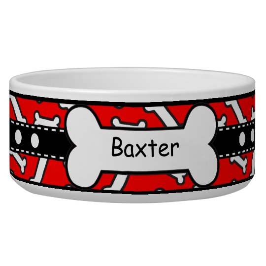 Bow Wow Doggie Bones Colourful Red and Black Dog Water Bowls