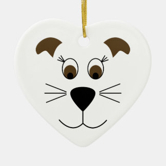 Bow Wow Puppy Face Ceramic Heart Decoration