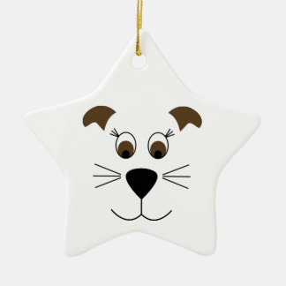 Bow Wow Puppy Face Ceramic Star Decoration