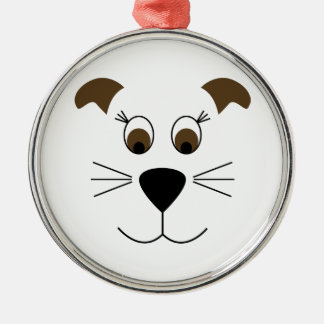 Bow Wow Puppy Face Silver-Colored Round Decoration