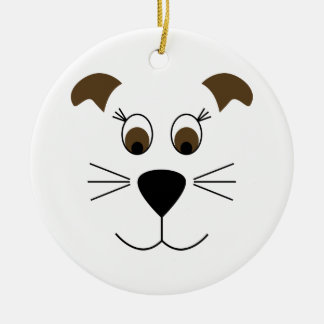 Bow Wow Puppy Face Round Ceramic Decoration