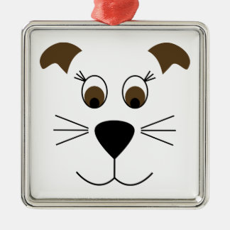 Bow Wow Puppy Face Silver-Colored Square Decoration